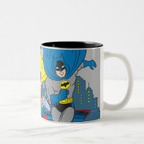 vintage, retro, batman robin running, batman, bat man, 1966 batman, 60's batman, batman action callout, action words, fighting sound effect words, punching sounds, adam west, burt ward, batman tv show, batman cartoon graphics, super hero, classic tv show, Mug with custom graphic design