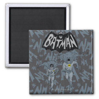 Batman And Robin With Logo Distressed Graphic 2 Inch Square Magnet