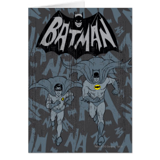 Batman And Robin With Logo Distressed Graphic Card