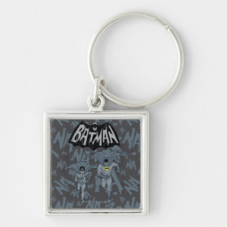 Batman And Robin With Logo Distressed Graphic Keychain