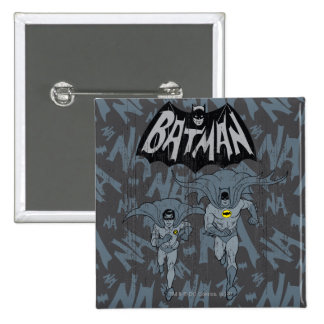 Batman And Robin With Logo Distressed Graphic Pinback Button