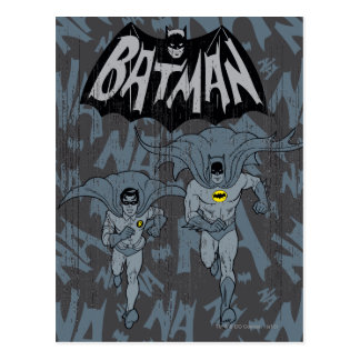 Batman And Robin With Logo Distressed Graphic Postcard