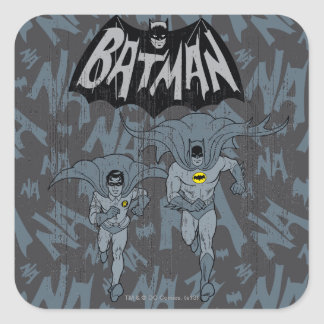 Batman And Robin With Logo Distressed Graphic Square Sticker