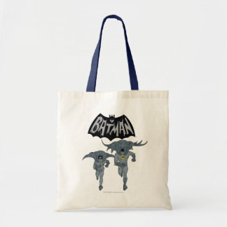 Batman And Robin With Logo Distressed Graphic Tote Bag