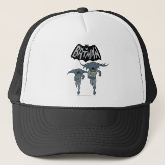 Batman And Robin With Logo Distressed Graphic Trucker Hat