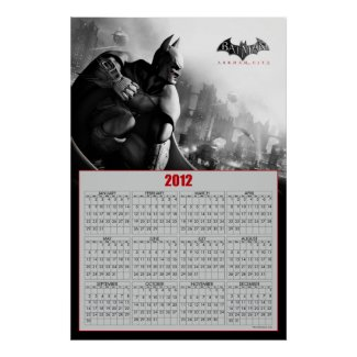 Batman Archam City 2012 Calendar Poster print