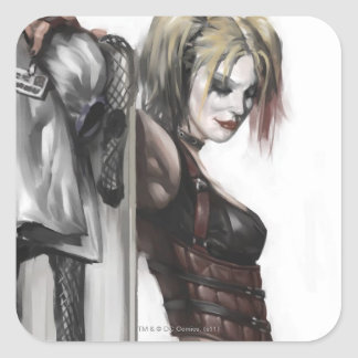 Batman Arkham City   Harley Quinn Illustration Square Sticker
