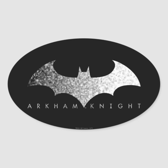 Batman Arkham Knight Pixel Logo Oval Sticker