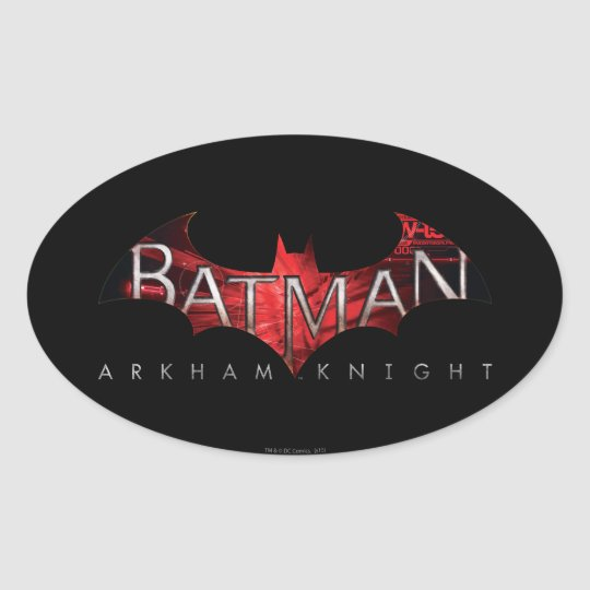 Batman Arkham Knight Red Logo Oval Sticker