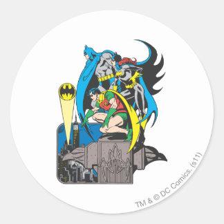 Batman/Batgirl/petirrojo Pegatina Redonda