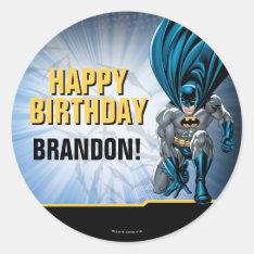 Batman Birthday Classic Round Sticker at Zazzle
