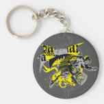 Batman Black and Yellow Collage Basic Round Button Keychain