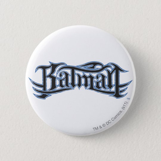 Batman | Blue Black Letters Logo Button