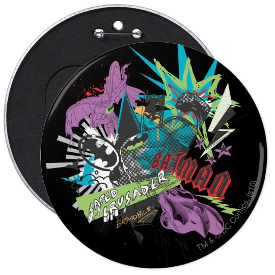 Batman Caped Crusader Neon Collage Button