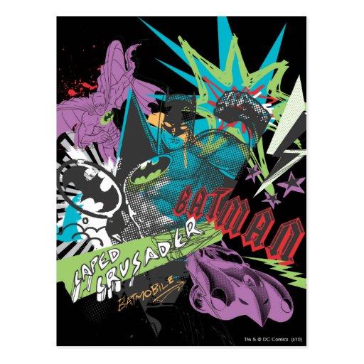 Batman Caped Crusader Neon Collage Post Card