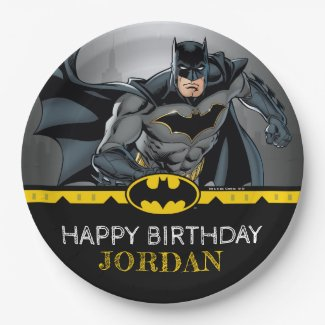 Batman | Chalkboard Happy Birthday Paper Plate