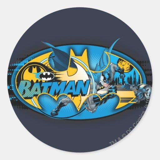 Batman Classic Logo Collage Classic Round Sticker