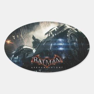 Batman con Batmobile en la lluvia Pegatina Ovalada