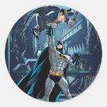 Batman contra pingüino pegatinas redondas