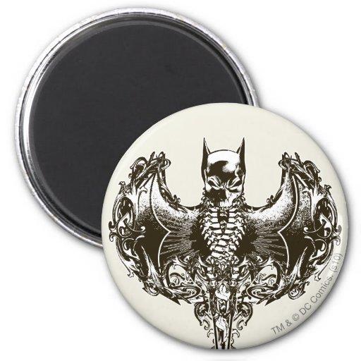Batman Cowl and Skull Crest 2 Inch Round Magnet