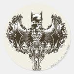 Batman Cowl and Skull Crest Round Sticker