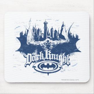 Batman Dark Knight   Cityscape Blue Logo Mouse Pad
