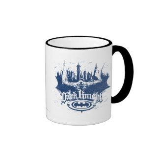 Batman Dark Knight | Cityscape Blue Logo Ringer Mug