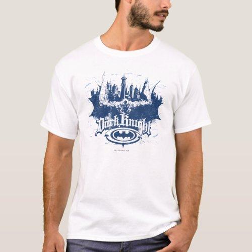 Batman Dark Knight  Cityscape Blue Logo T_Shirt