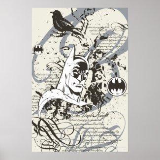 Batman Dark Knight Manuscript Montage Poster