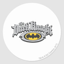 Batman Dark Knight | Name and Oval Logo Classic Round Sticker
