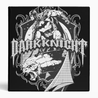 Batman Dark Knight | White Grey Outline Logo 3 Ring Binder