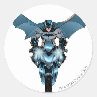 Batman en la bici con el cabo pegatina redonda