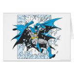 Batman estalla a través del vidrio tarjeta de felicitación