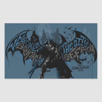 Batman Gotham City Paint Drip Graphic Rectangular Sticker