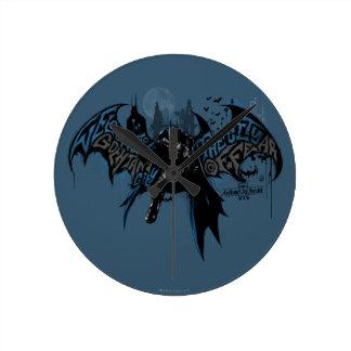 Batman Gotham City Paint Drip Graphic Round Clock