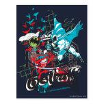 Batman Gotham Guardian Lineart Collage Postcard