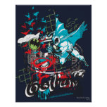 Batman Gotham Guardian Lineart Collage Posters