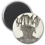 Batman | Graphic Novel Pencil Sketch Beige Logo 2 Inch Round Magnet