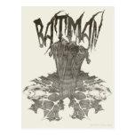 Batman | Graphic Novel Pencil Sketch Beige Logo Postcard