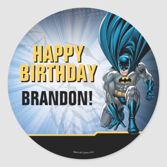 Batman happy birthday classic round sticker