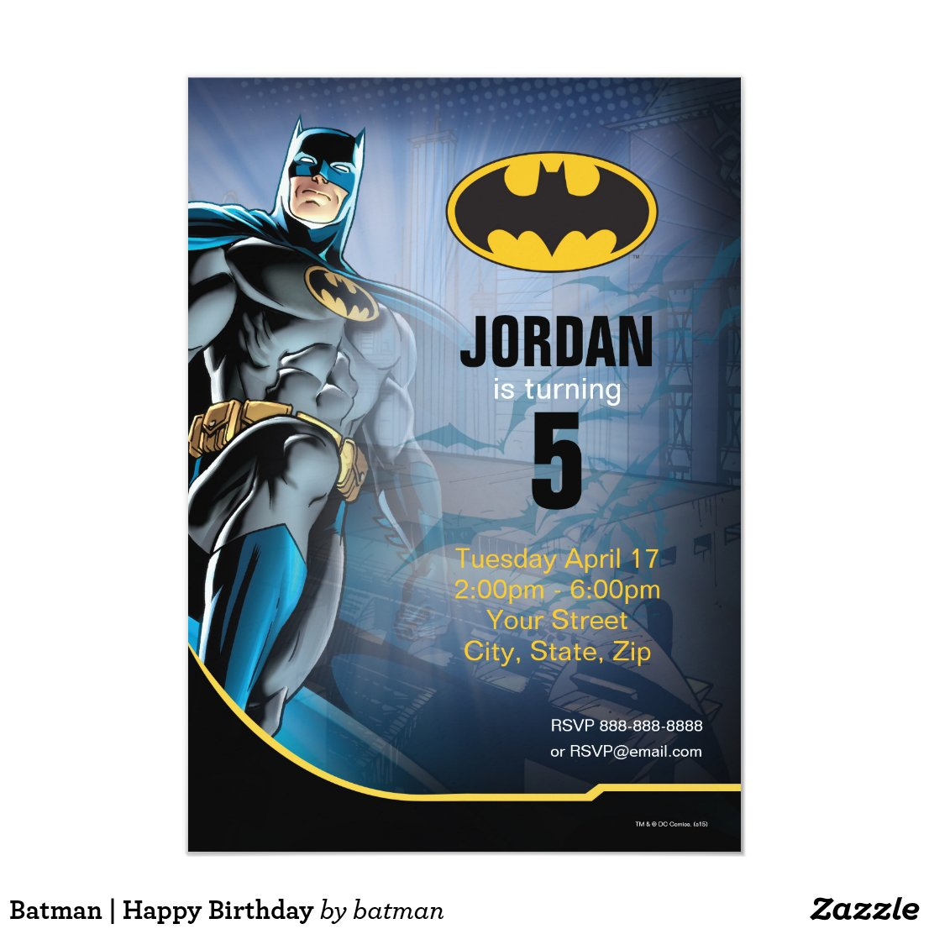 Batman   Happy Birthday Invitation