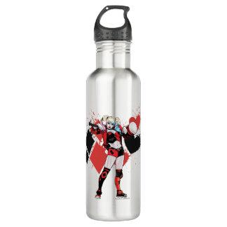 Batman | Harley Quinn Hearts & Diamonds Splatter Stainless Steel Water Bottle