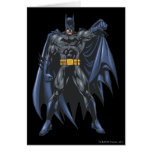 Batman holds up cape greeting card