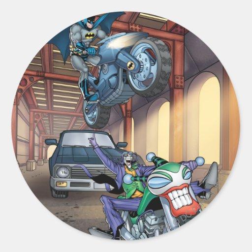 Batman & Joker - Riding Motorcycles Classic Round Sticker