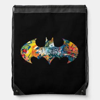 Batman Logo Neon/80s Graffiti Drawstring Backpack