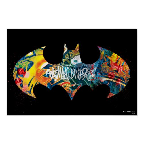 Batman Logo Neon 80s Graffiti Poster