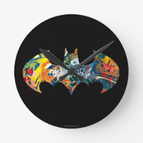 Batman Logo Neon/80s Graffiti Round Clock