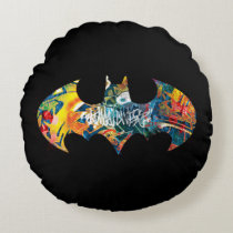 Batman Logo Neon/80s Graffiti Round Pillow