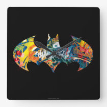 Batman Logo Neon/80s Graffiti Square Wall Clock