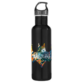 Batman Logo Neon/80s Graffiti Stainless Steel Water Bottle